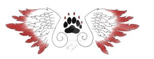 Wing and Paw Tattoo Design by darkhuntress