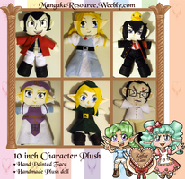 10 inch Character Plushies - Commissionable Item! by Kafae-Latte