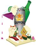 Sapporo-Beer Can-San and Kawaii Dining Friends by Ai-Don