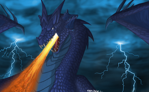 Blue Dragon Spitting Fire by LauraRamirez