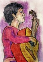 Oil pastel sketch # 41: Girl with guitar by CpointSpoint