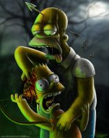 Homer and Bart Simpson by AtomiccircuS