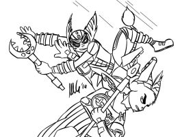 Alister VS Eddie - Lineart by lombaxesdimension