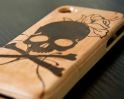 Pirate Jolly Roger and Rose iPhone 4/s Wood Case by CrystalKittyCat