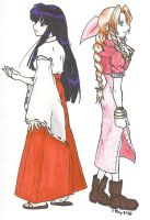 kikyo and Aerith in color... by forsakenkikyo