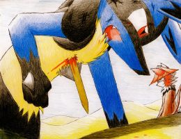 Injured Lucario by Dogwhitesector