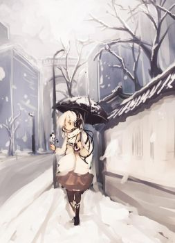 Snow-covered road by yagamisiro