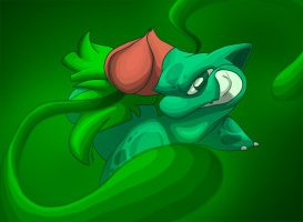 Ivysaur, Vine Whip by sketchinthoughts