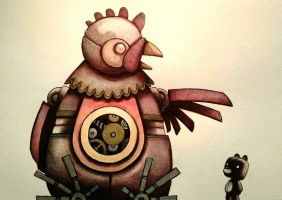 Teddy and the Steampunk Chicken by legumebean