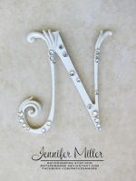 White Embellished Initial Wedding Cake Topper by ArteDiAmore