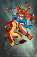 Commission: Burst Lion versus Tiger Trap by johnbecaro