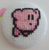 Kirby 3 cross stitch pin by pixel8bit