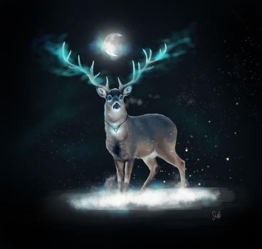 Deer in the night by Catharina-Sco