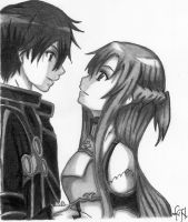 Kirito and Asuna by KuroNightcliff