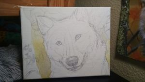 Wolf Painting WIP2 by NamelessOkami