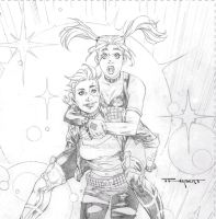 Dazzler and Harley  pencils by aethibert