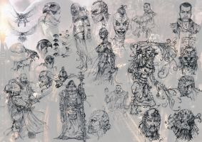 Inquisitor and retinue sketches by slaine69