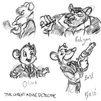 Great Mouse Detective Sketches by The-B-Meister
