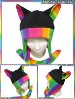 Rainbow Aviator Kitty Hat with Ties by AnimeNomNoms