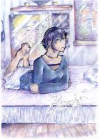 Hinata... Lounging on her bed by flightangel