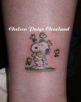 Snoopy and Woodstock tattoo by Chelsea-C