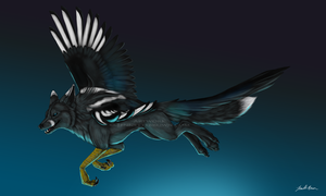 Magpie Fox Gryphon by sugarpoultry