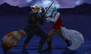 Kian and Jett fight by Chocolace
