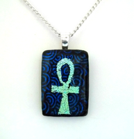 Double Dichroic Ankh Fused Glass Pendant by HoneyCatJewelry