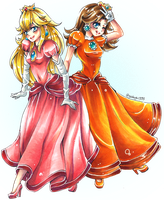 Peach and Daisy by VisualVerdict