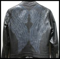 Raven Crow Wings Leather Painted Jacket by wraithwitch