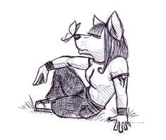 Anthro Wolf Girl Sketch by wolf-lion