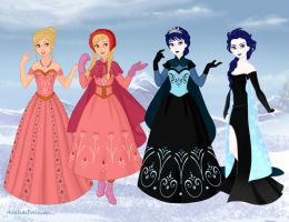Venus And Pluto as Anna and Elsa by MiharuWatanabe