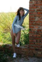 Hot woman in grey leotard and pantyhose 3 by JLAvenger2