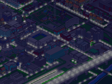 Pixel Town - Night by tehste