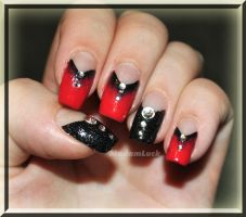 simiple True Blood inspired nail art by MadamLuck
