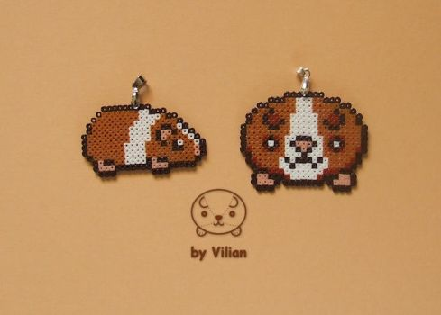 Mini Hama beads guinea pig pendants (on Etsy) by VilDeviant