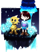 Frisk and Monster kid in Waterfall by CookieBread091