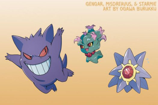 Pokemon Drawz Day 6: Gengar Misdreavus and Starmie by OgawaBurukku