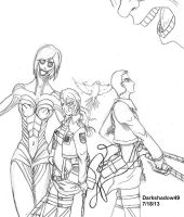 AoT with Nidia and Me against Titan LineArt by Darkshadow49