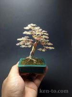 Large 3 color wire bonsai tree by Ken To by KenToArt