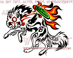 Color Tribal Okami Tattoo by WildSpiritWolf