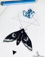 Crystal Moth illustrations for Aeon book by Anna-Marine