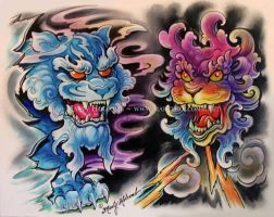 Foo Dogs by Artistic-Tattooing