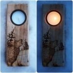 Wolf Rustic Custom Candle Holder by CosmosCrafts