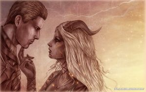 Dragon Age, Cullen and Shumalia comm by Agregor