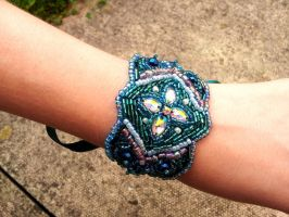 Frost Queen Beaded Cuff Bracelet by paradiseshoretwins