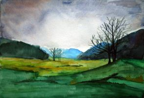 watercolor landscape by nikolacocacola