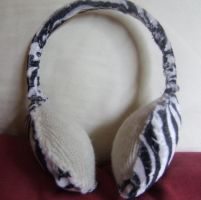 Zebra print upcycled ear muffs by chaobreeder16