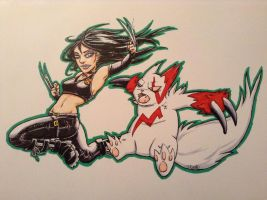 Marvel's X-Men's X-23 with Pokemon by mygirlr83