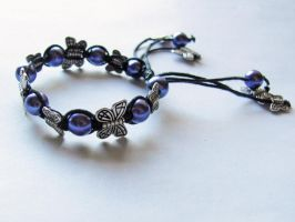 Purple and Black Butterfly Bracelet by VioletRosePetals